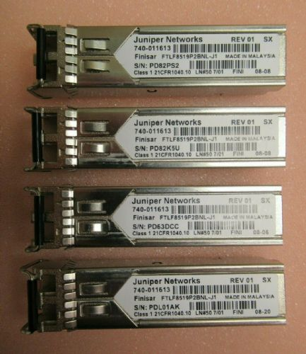 4x Juniper Finisar FTLF8519P2BNL-J1 1000Base-SX 850nm Transceiver SFP 740-011613